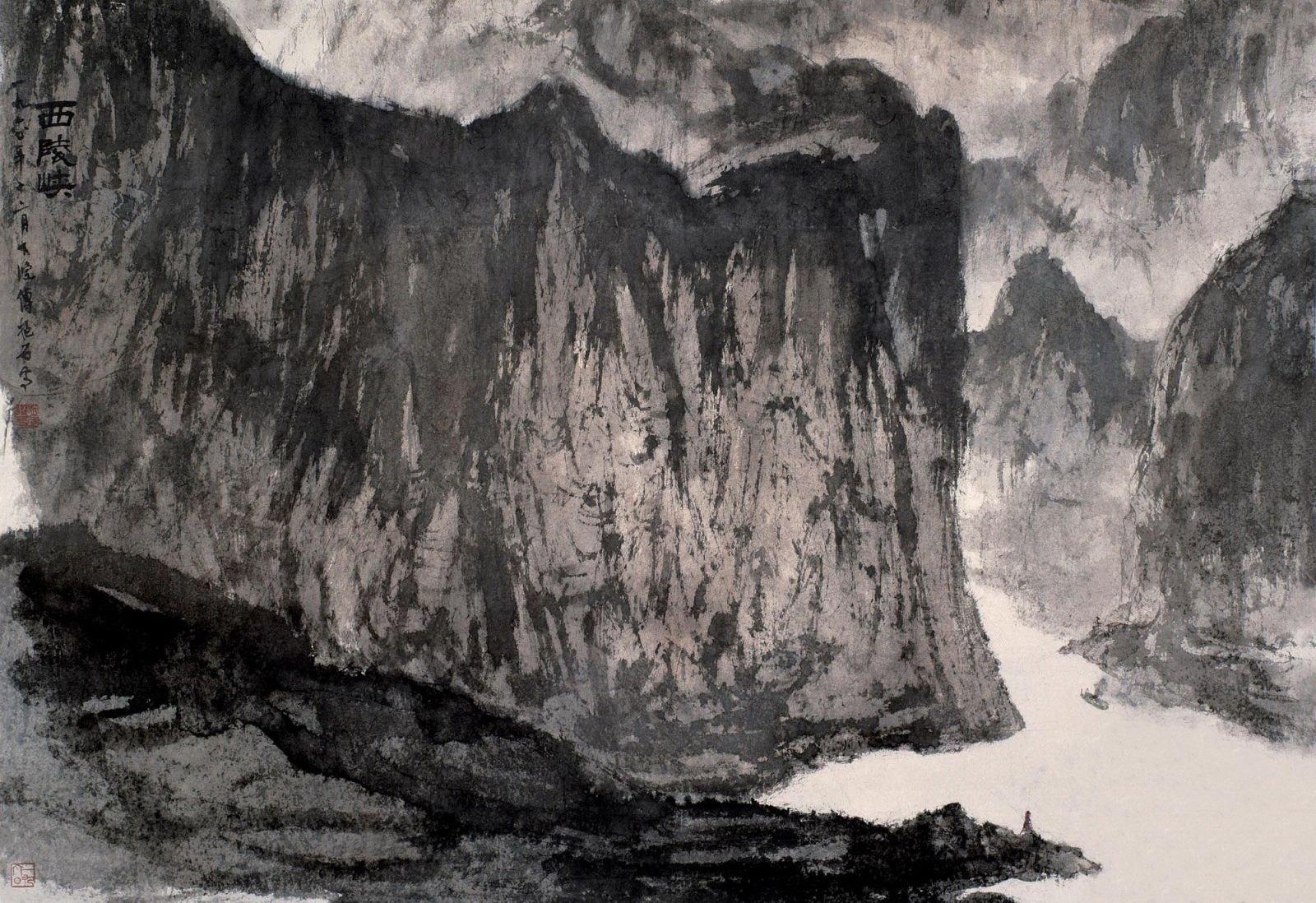 傅抱石山水画代表作_西陵峡|傅抱石|历代名作欣赏|北京市问古斋书画社